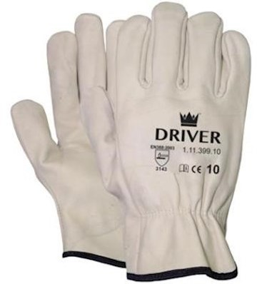 Nerflederen crème kleurige officiershandschoen - 10