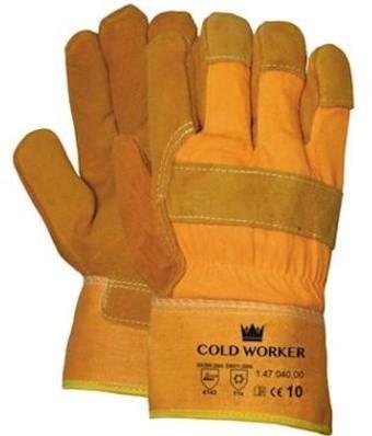 Splitlederen winterhandschoen met gele kap