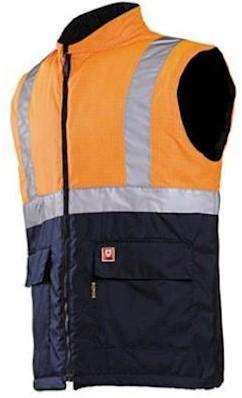 Sioen 1666 Bravone bodywarmer - fluo oranje/marineblauw - xxl