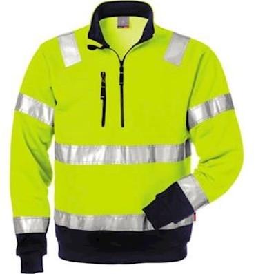 Fristads Kansas 728 BPV sweater - fluo geel/marineblauw - 3xl