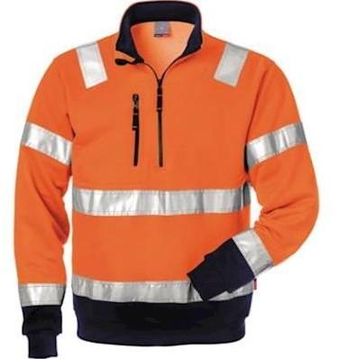 Fristads Kansas 728 BPV sweater - fluo oranje/marineblauw - m