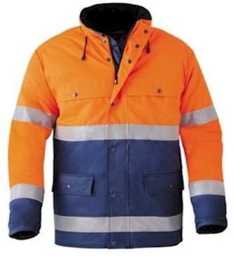 HAVEP 4133 parka - fluo oranje/marineblauw - l