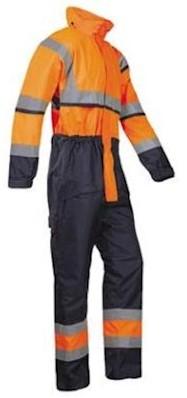 Sioen 440A Cabin overall - fluo oranje/marineblauw - l