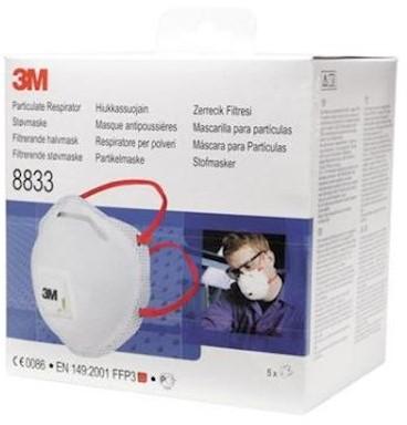 3M 8833S stofmasker FFP3 R D met uitademventiel in kleinverpakking