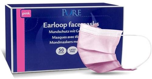Pure mondmasker met elastiek roze