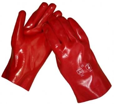 Werkhandschoenen PVC rood 35cm
